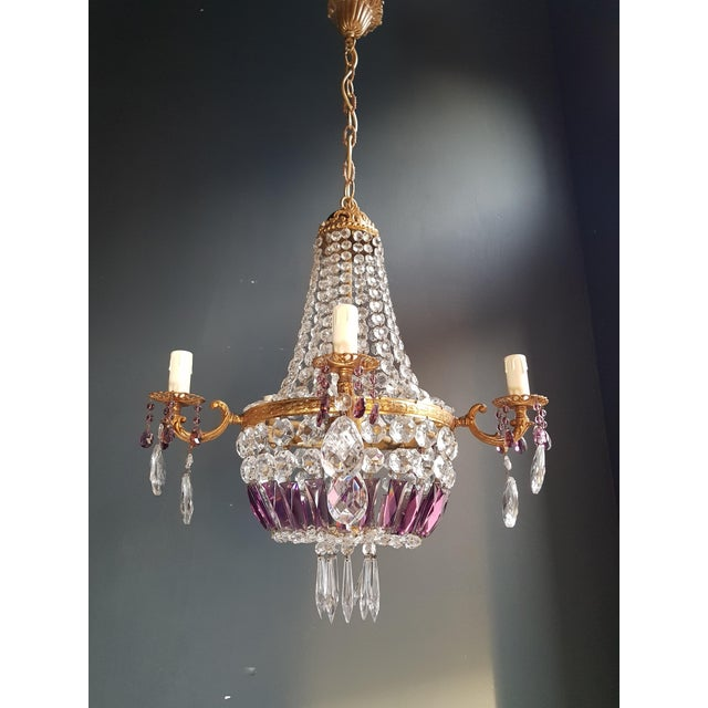 Brass Empire Sac a Pearl Purple Chandelier Crystal Lustre Ceiling Lamp Basket Antique Brass For Sale - Image 7 of 8