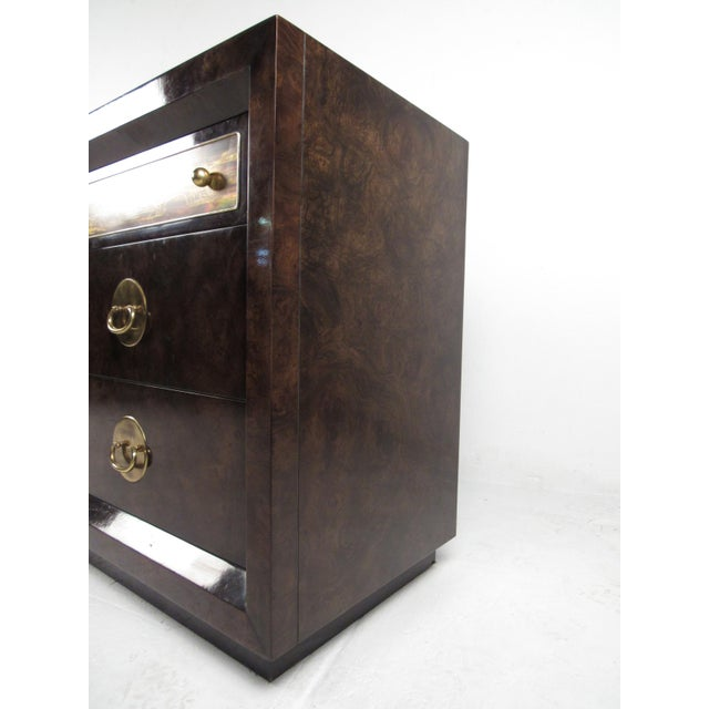 Bernhard Rohne Brass and Burl Wood Dresser for Mastercraft by Bernhard Rohne For Sale - Image 4 of 13