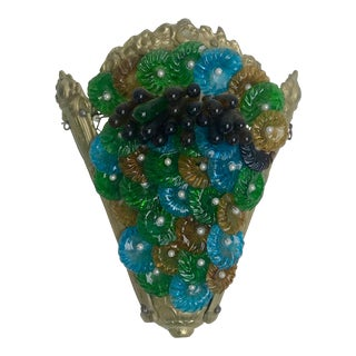 1920s Green and Blue Murano Glass Sconce For Sale