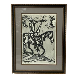 Woodcut Print by Irving Amen of Don Quixote For Sale