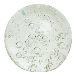 Vintage Murano Bullecante Bubbled Clear Glass Ball or Paper Weight For Sale