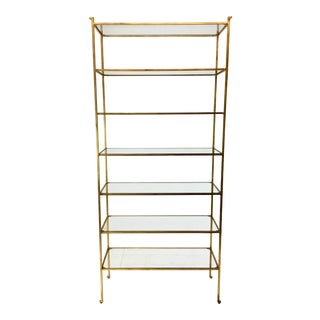 Currey & Co. Modern Delano Large Gold Metal and Glass Etagere For Sale
