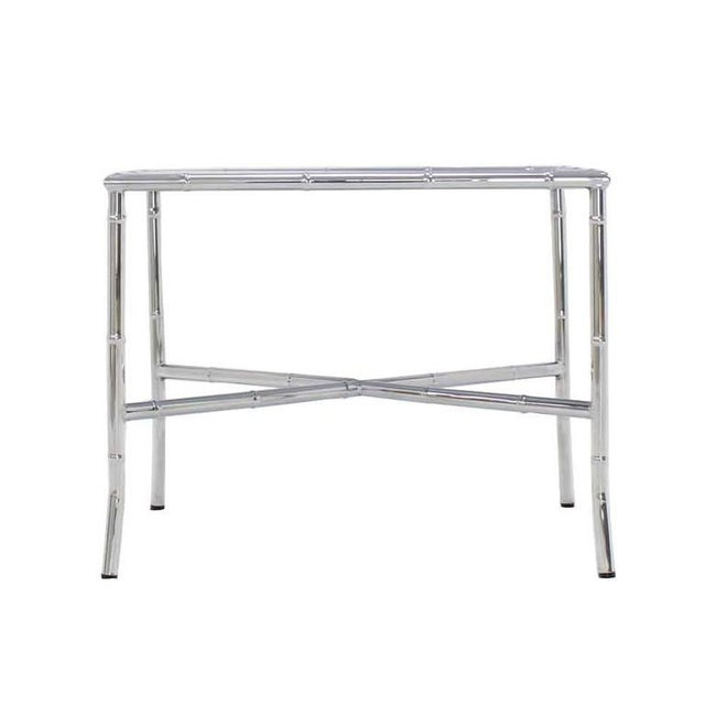 Black Chrome Faux Bamboo Smoked Glass Top Side or Coffee Table For Sale - Image 8 of 10