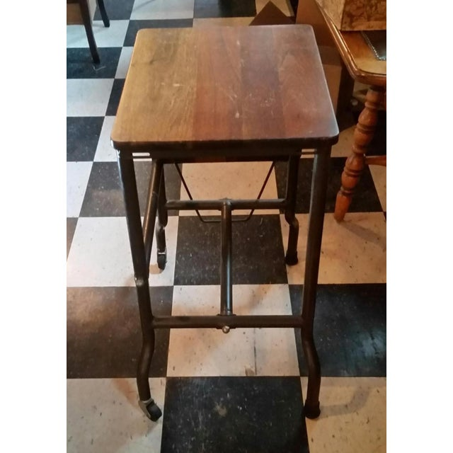 1960s Traditional Ideal Sherman-Manson Wood/Metal Typewriter Table For Sale - Image 4 of 9