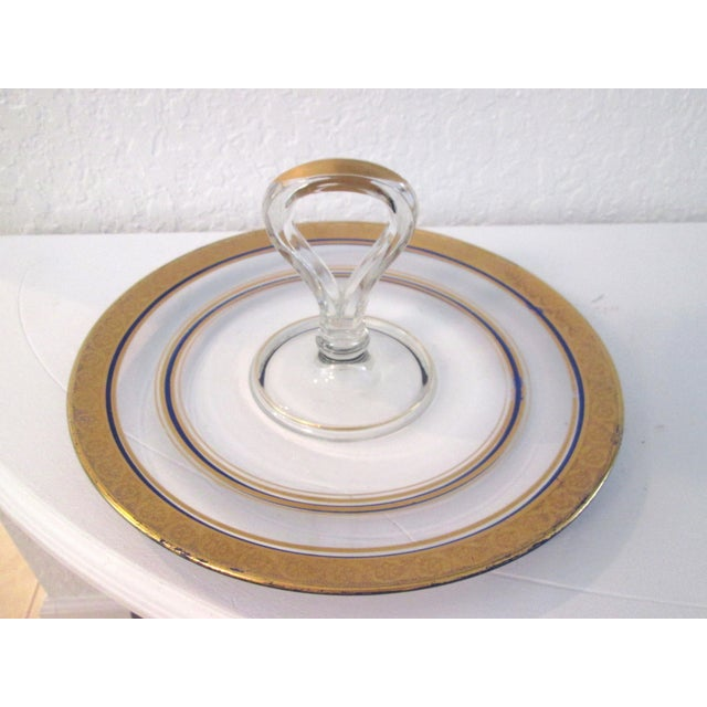 Vintage Gold & Navy Blue Glass Tidbit Plate - Image 2 of 5