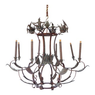 1970s Carnival-Style Monkey-Themed Bronze and Brass 8 Light Chandelier For Sale