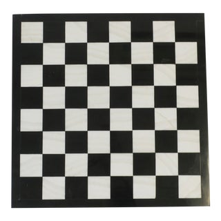 Black and White Marble Chess Checkers Game Board or Trivet For Sale