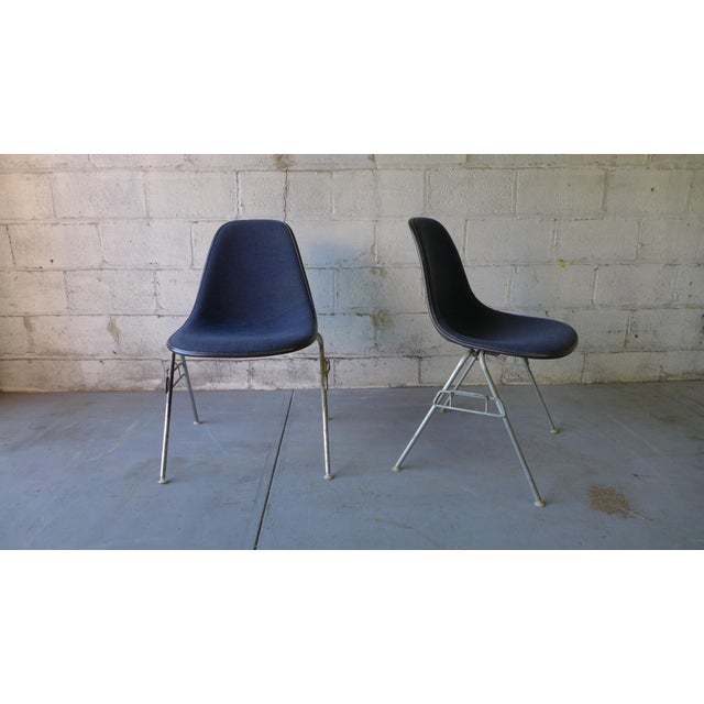 mid century eames herman miller upholstered shell chair a pair