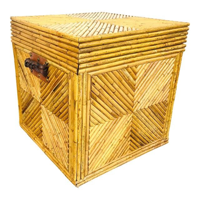 Vintage Natural Pencil Reed Rattan Gabriella Crespi Style Trunk Chest Table For Sale