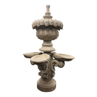 Contemporary Hand-Carved Limestone Central Fountain For Sale