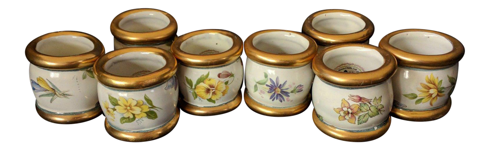 Mackenzie Childs Pottery Ceramic Gold Pink Flower Chelsea Lustre Ring Around The Posie Napkin Rings Set Of 8 Chairish
