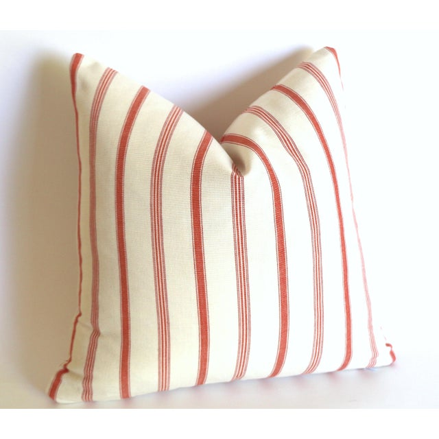 French Ticking Stripe Coral & Ivory Pillow Cover: 16x16 For Sale - Image 4 of 4