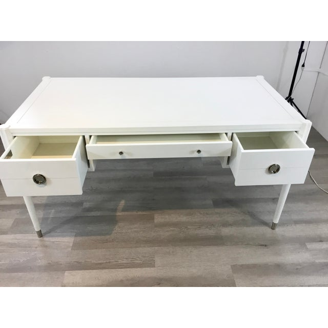 Hickory White Hickory White Modern White Wood Elliot Writing Desk For Sale - Image 4 of 8