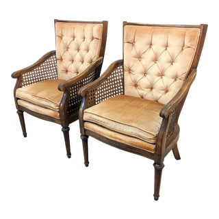Vintage Tufted Peach Velvet Accent Chairs - a Pair For Sale