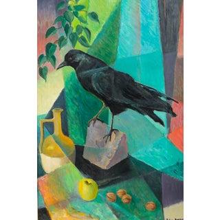 1900s Contemporary Original Oil Painting on Masonite of Blackbird by William Dampier