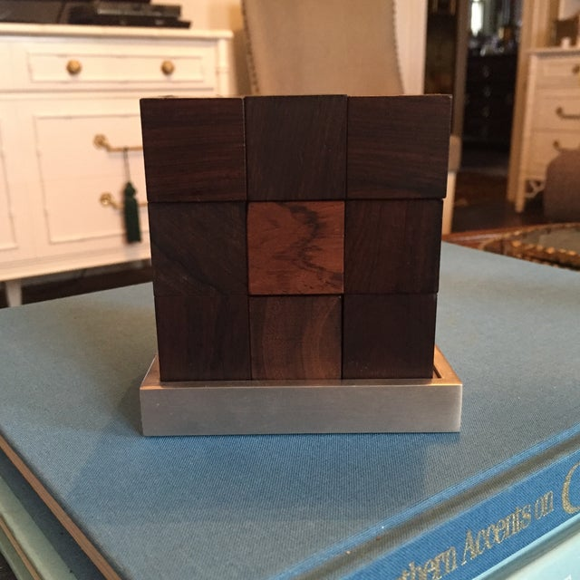 Mid Century Modern Danish Rosewood Teak Parker Brothers Cube Puzzle Game - Image 2 of 11