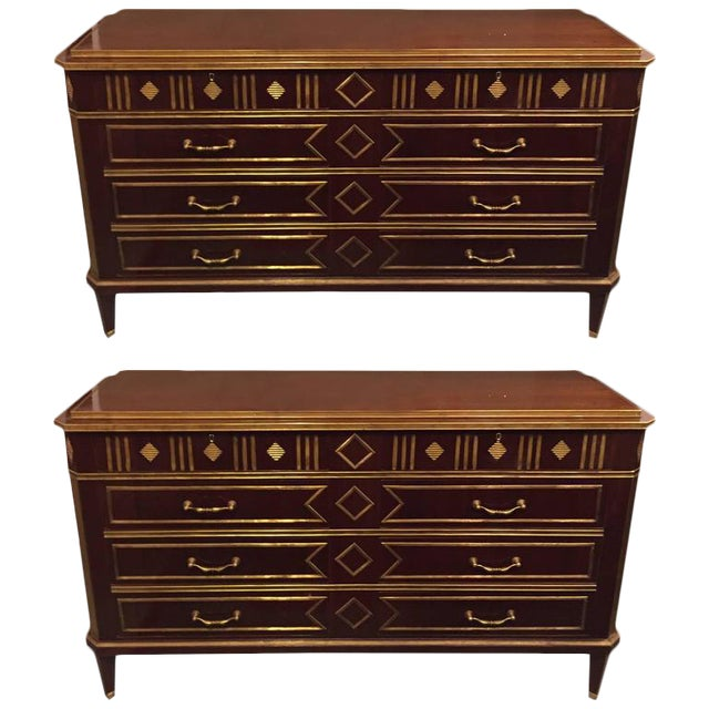 Russian Neoclassical Style Chests or Commodes - a Pair For Sale