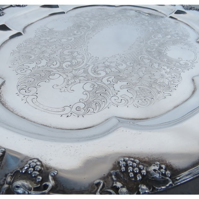 English Vintage Silverplate Serving Tray For Sale - Image 3 of 6