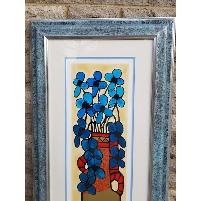 "Blue ""Blue Flowers"" Serigraph by Avi Ben Simhon For Sale - Image 8 of 13"