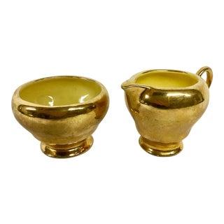 Gold Porcelain Cream & Sugar - A Pair