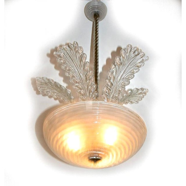 Italian 1950s Italian Barovier Murano Glass Leaf Chandelier For Sale - Image 3 of 10
