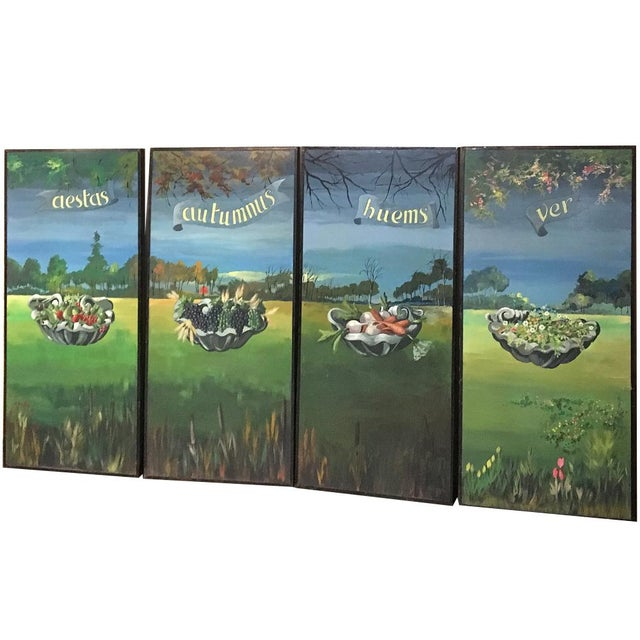 Set of 4 Large Scale Vintage Four Seasons Paintings For Sale - Image 12 of 12