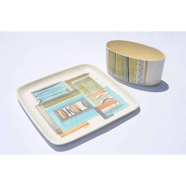 1950s Sascha Brastoff Ceramic Tray and Planter - a Pair For Sale - Image 13 of 13