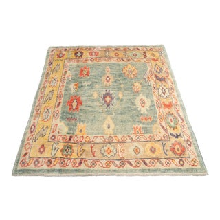 Modern 'Bechet' Turkish Oushak Rug- 5′4″ × 6′ For Sale