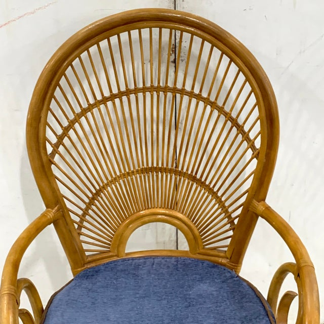 1970s Bamboo & Rattan Back 'Sunrise' Armchairs - a Pair For Sale - Image 4 of 11
