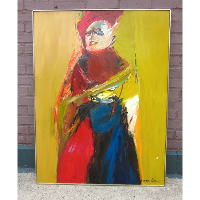 Suzanne Peters 1970s Vintage Suzanne Peters Expressionist Style Portrait Oil on Board Painting For Sale - Image 4 of 11