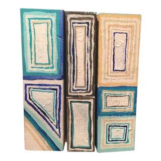 "Modern ""Blue Box Bars"" Mixed Media by Cordy Ryman For Sale"
