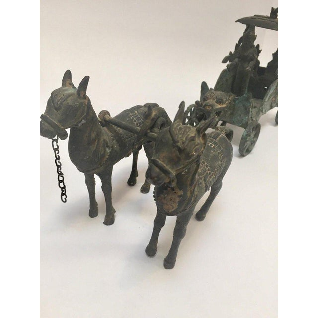 Antique Asian Bronze Chariot With Dragon Head Pulled by Horses For Sale - Image 12 of 13
