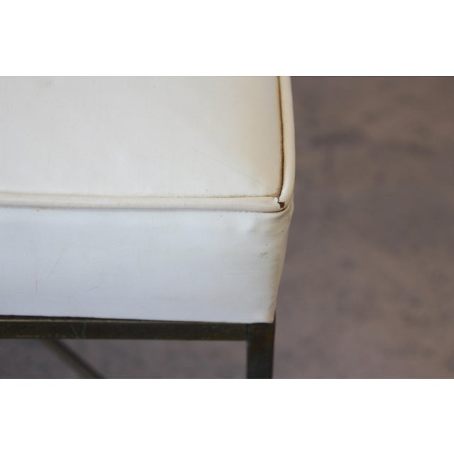 Paul McCobb for Directional X-Base Brass and Upholstered Stools or Benches, Pair For Sale - Image 9 of 11