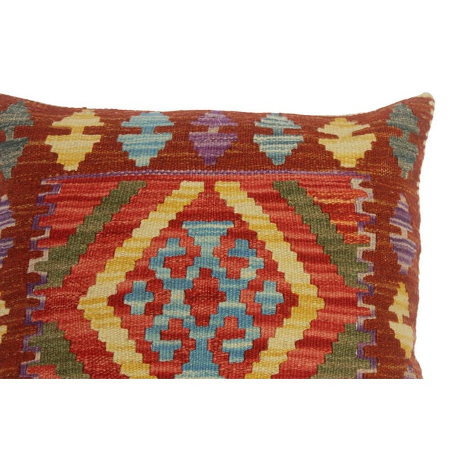 """Asian Chelsie Red/Rust Hand-Woven Kilim Throw Pillow(18""""x18"""") For Sale - Image 3 of 6"""