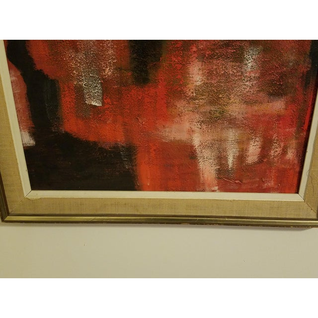 Mid-Century Abstract Oil Painting - Image 4 of 8
