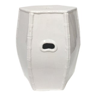White Italian Porcelain Garden Stool With Bamboo Motif