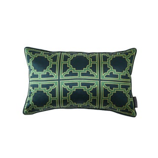 Manette Green Silk Patterned Lumbar Pillow For Sale