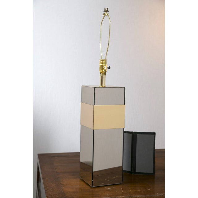 Paul Evans Style Glass & Brass Table Lamp - Image 2 of 7