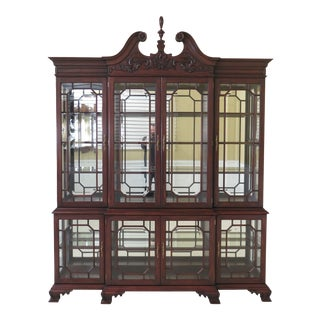 Traditional Henkel Harris Model Mahogany Lighted Curio Breakfront For Sale