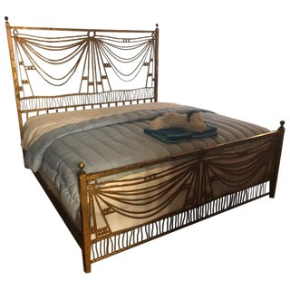 Art Deco Gilt Metal Tassel Chain Form King Sized Bed-Frame For Sale
