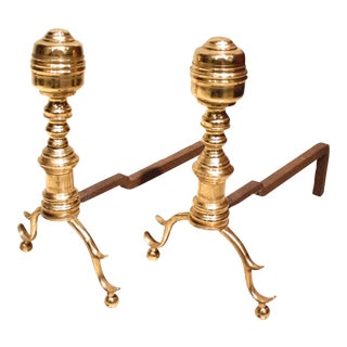 Small American Federal Brass Andirons - a Pair For Sale