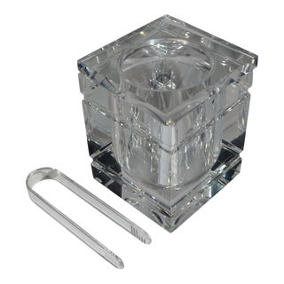 1970s Alessandro Albrizzi Attributed Square Lucite Ice Bucket and Tongs For Sale