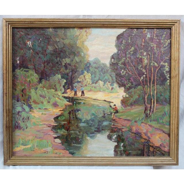 """Framed oil on canvas by Jessamine Johnson (B. 1874), listed artist, gilt-wood frame. Canvas size: 28""""W x 23""""H"""