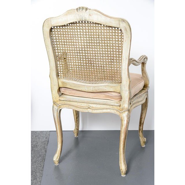 Pair French Louis XV Chairs With Caned Back & Seat For Sale - Image 11 of 13