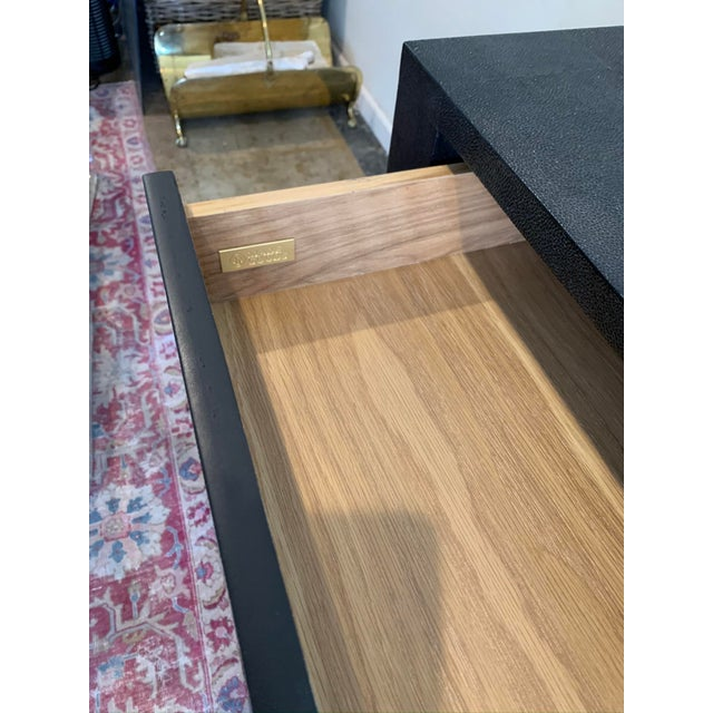 Wood Made Goods Black Faux Shagreen Desk For Sale - Image 7 of 9