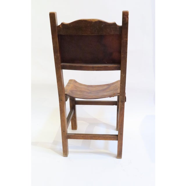 Rustic Wood & Leather Mission Style Chair - Image 5 of 6