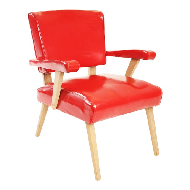 Mid Century Modern Red Viking Artline Slipper Chair For Sale