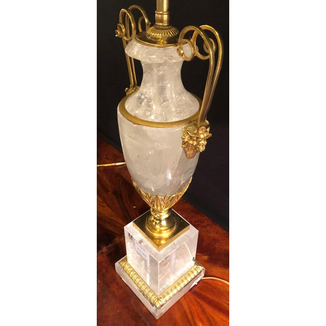 Metal Pair of Palatial Gilt Gold and Rock Crystal Urn Form Table Lamps For Sale - Image 7 of 13