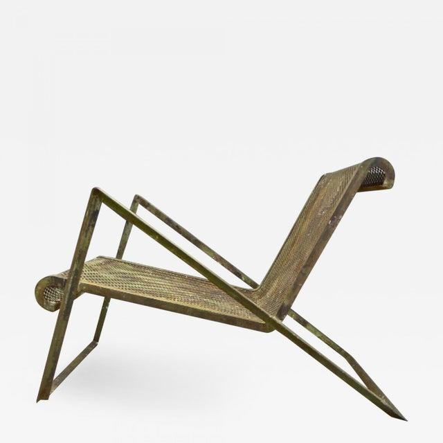 Jean Royere Early Rarest Documented Perforated Iron Lounge Chair For Sale - Image 12 of 12