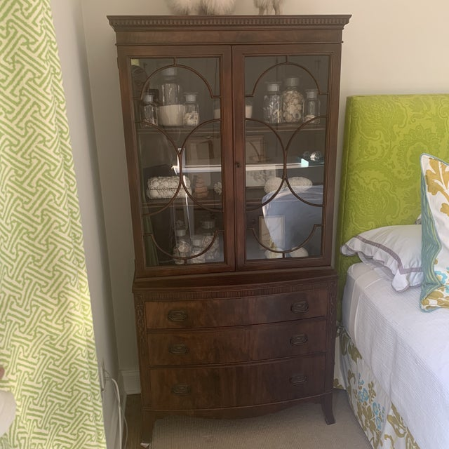 Antique Mahogany China Display Cabinet For Sale - Image 12 of 13